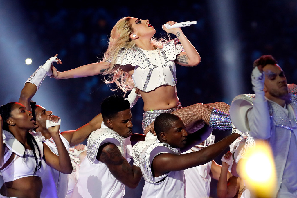 . Lady Gaga performs during the halftime show of the NFL Super Bowl 51 football game between the New England Patriots and the Atlanta Falcons Sunday, Feb. 5, 2017, in Houston. (AP Photo/Patrick Semansky)