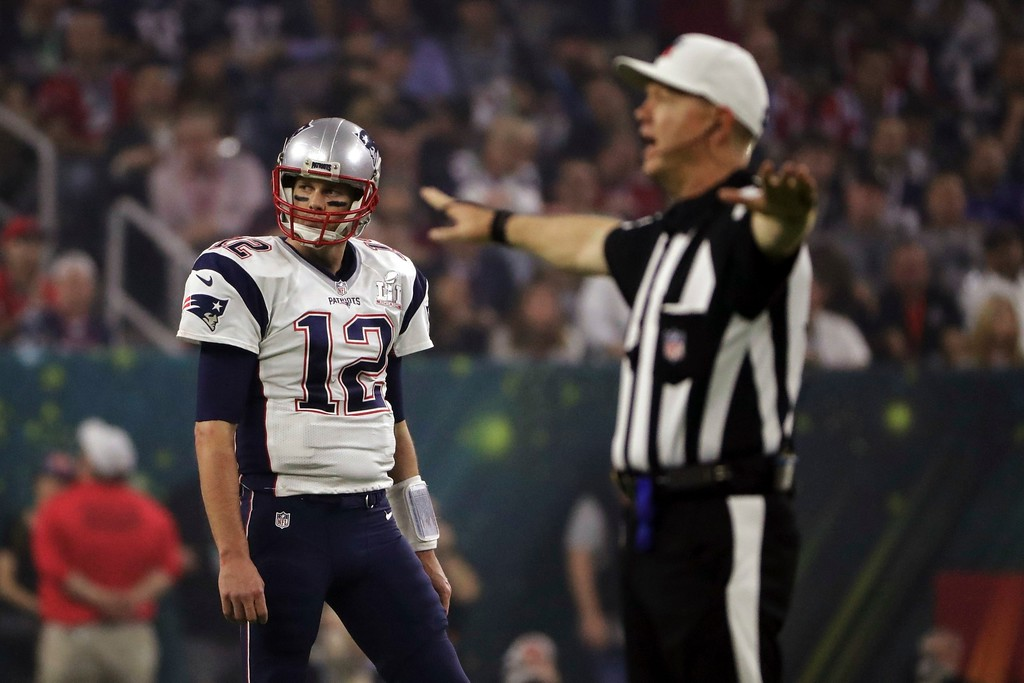 . New England Patriots\' Tom Brady reacts to an incomplete pass, during the second half of the NFL Super Bowl 51 football game against the Atlanta Falcons, Sunday, Feb. 5, 2017, in Houston. (AP Photo/Matt Slocum)