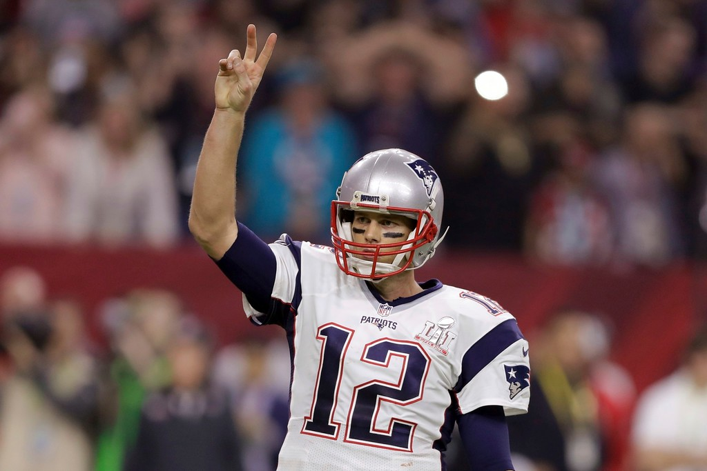 . New England Patriots\' Tom Brady calls for a two-point conversion during the second half of the NFL Super Bowl 51 football game against the Atlanta Falcons, Sunday, Feb. 5, 2017, in Houston. (AP Photo/Darron Cummings)