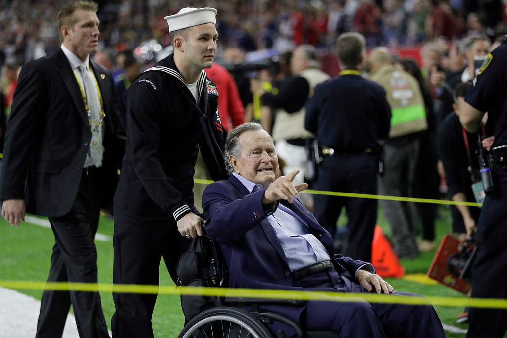 . Former President George H.W. Bush before the NFL Super Bowl 51 football game between the Atlanta Falcons and the New England Patriots Sunday, Feb. 5, 2017, in Houston. (AP Photo/Jae C. Hong)