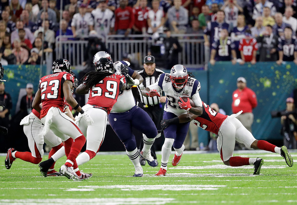 . New England Patriots\' LeGarrette Blount (29) runs against the Atlanta Falcons during the first half of the NFL Super Bowl 51 football game Sunday, Feb. 5, 2017, in Houston. (AP Photo/Elise Amendola)
