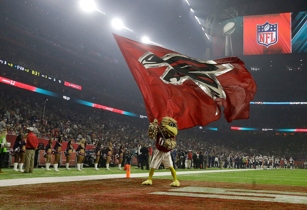 . The Atlanta Falcons mascot performs during the second half of the NFL Super Bowl 51 football game between the Atlanta Falcons and the New England Patriots Sunday, Feb. 5, 2017, in Houston. (AP Photo/Elise Amendola)