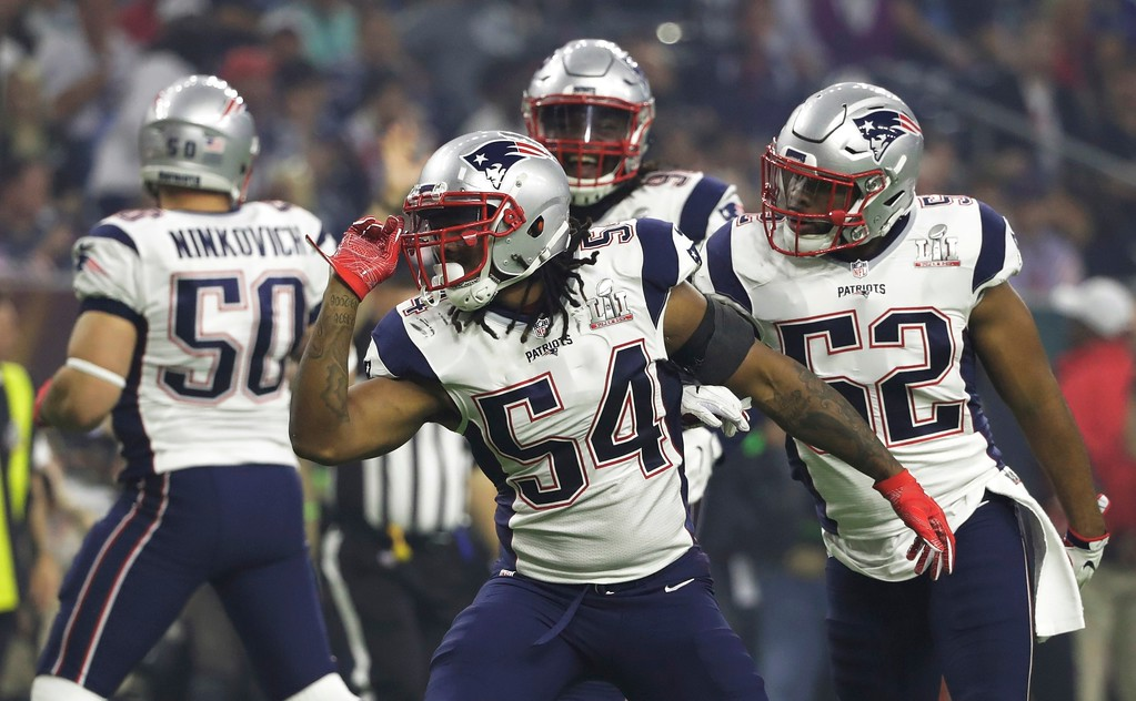 . New England Patriots\' Dont\'a Hightower celebrates after a tackle against the Atlanta Falcons during the second half of the NFL Super Bowl 51 football game Sunday, Feb. 5, 2017, in Houston. (AP Photo/Tony Gutierrez)