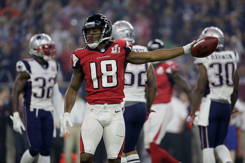 . Atlanta Falcons\' Taylor Gabriel celebrates after a pass reception during the second half of the NFL Super Bowl 51 football game against the New England Patriots Sunday, Feb. 5, 2017, in Houston. (AP Photo/Mark Humphrey)