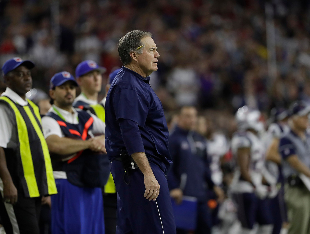 . New England Patriots head coach Bill Belichick watches during the first half of the NFL Super Bowl 51 football game against the Atlanta Falcons Sunday, Feb. 5, 2017, in Houston. (AP Photo/Elise Amendola)