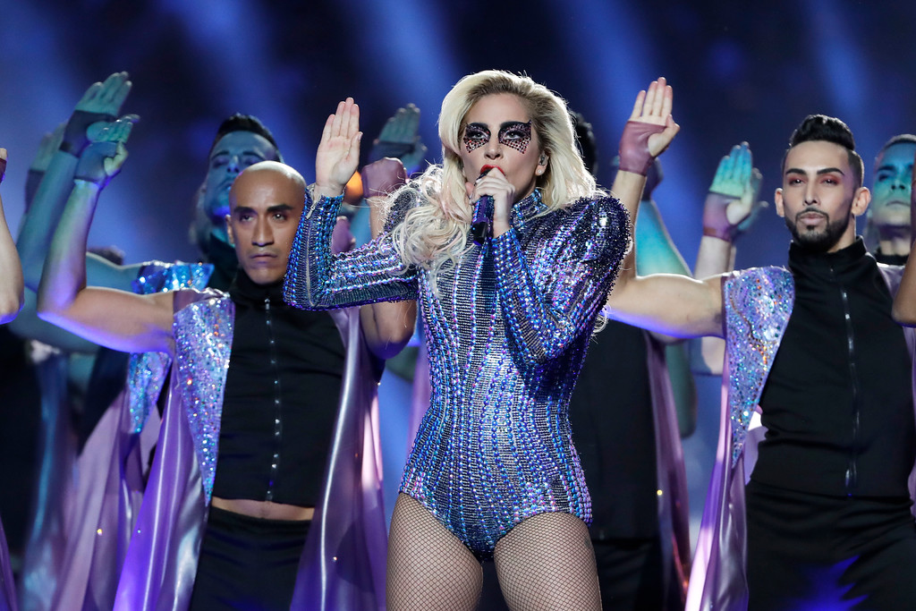 . Lady Gaga performs during the halftime show of the NFL Super Bowl 51 football game between the New England Patriots and the Atlanta Falcons Sunday, Feb. 5, 2017, in Houston. (AP Photo/Matt Slocum)