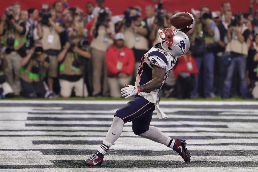 . New England Patriots\' James White celebrates his touchdown, during the second half of the NFL Super Bowl 51 football game against the Atlanta Falcons, Sunday, Feb. 5, 2017, in Houston. (AP Photo/Matt Slocum)
