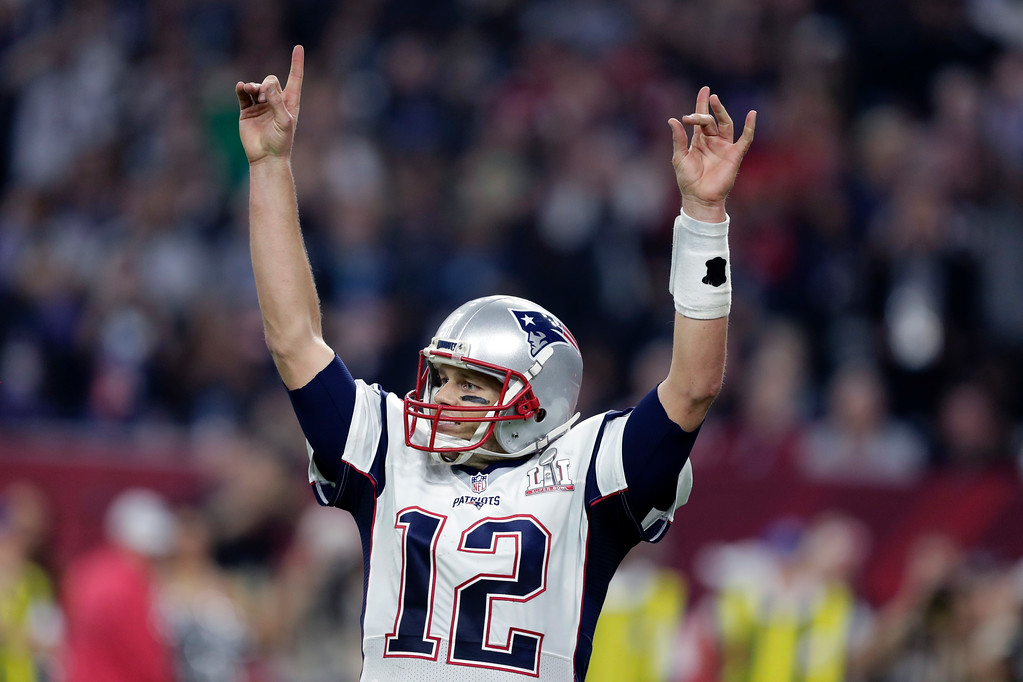 . New England Patriots\' Tom Brady reacts during overtime of the NFL Super Bowl 51 football game against the Atlanta Falcons Sunday, Feb. 5, 2017, in Houston. The Patriots won 34-28. (AP Photo/Darron Cummings)