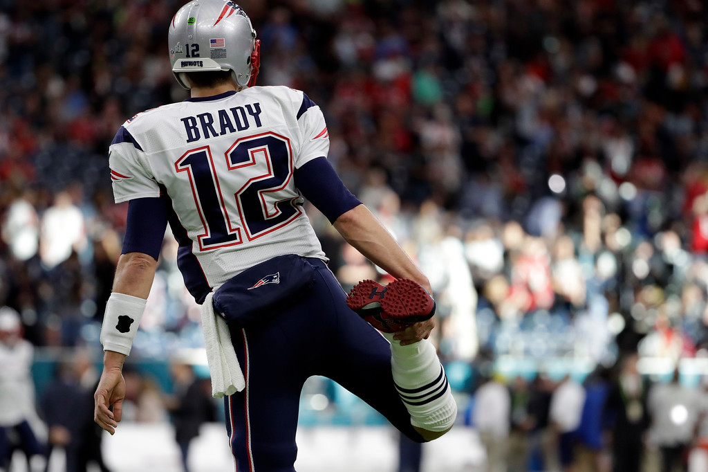 . New England Patriots\' Tom Brady stretches before the NFL Super Bowl 51 football game against the Atlanta Falcons Sunday, Feb. 5, 2017, in Houston. (AP Photo/Matt Slocum)