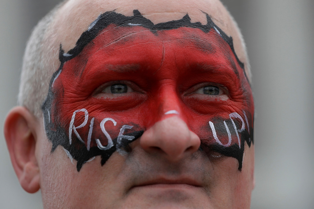. Atlanta Falcons fan Todd Carter of Atlanta, is seen before the NFL Super Bowl 51 football game against the New England Patriots, Sunday, Feb. 5, 2017, in Houston. (AP Photo/Darron Cummings)