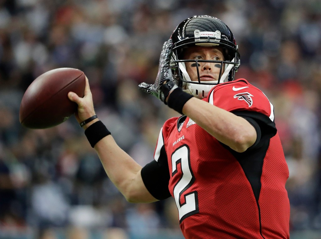 . Atlanta Falcons\' Matt Ryan warms up before the NFL Super Bowl 51 football game against the New England Patriots, Sunday, Feb. 5, 2017, in Houston. (AP Photo/Elise Amendola)