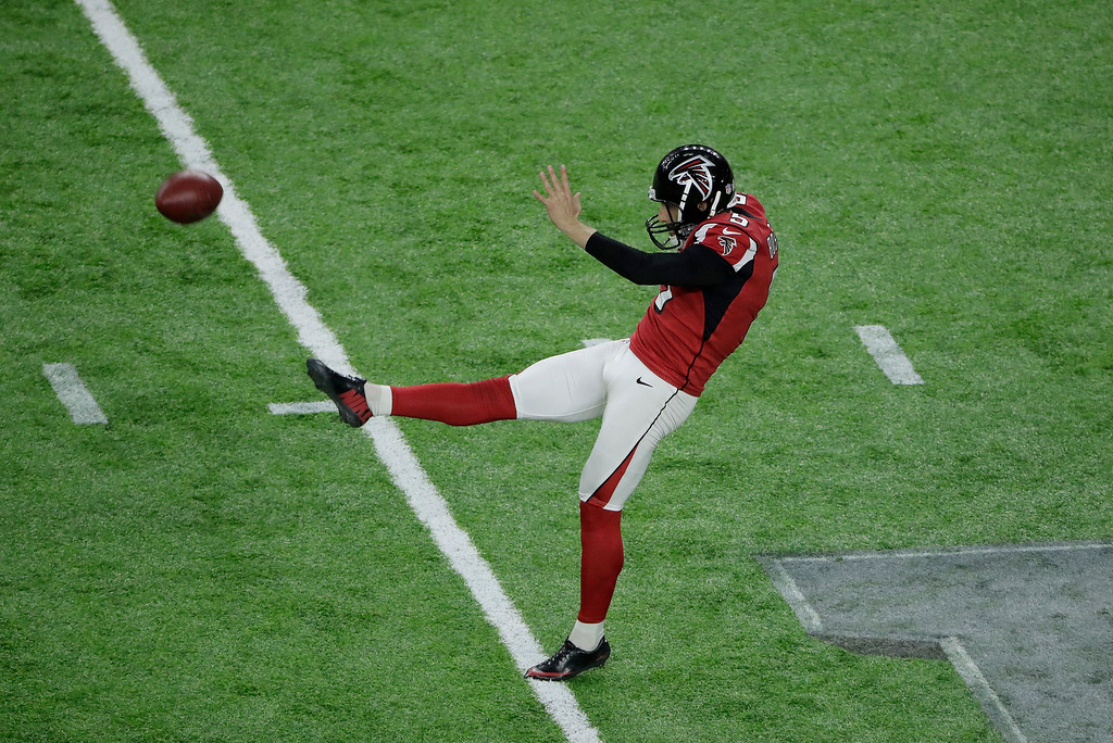 . Atlanta Falcons\' Matt Bosher punts during the first half of the NFL Super Bowl 51 football game against the New England Patriots Sunday, Feb. 5, 2017, in Houston. (AP Photo/Charlie Riedel)