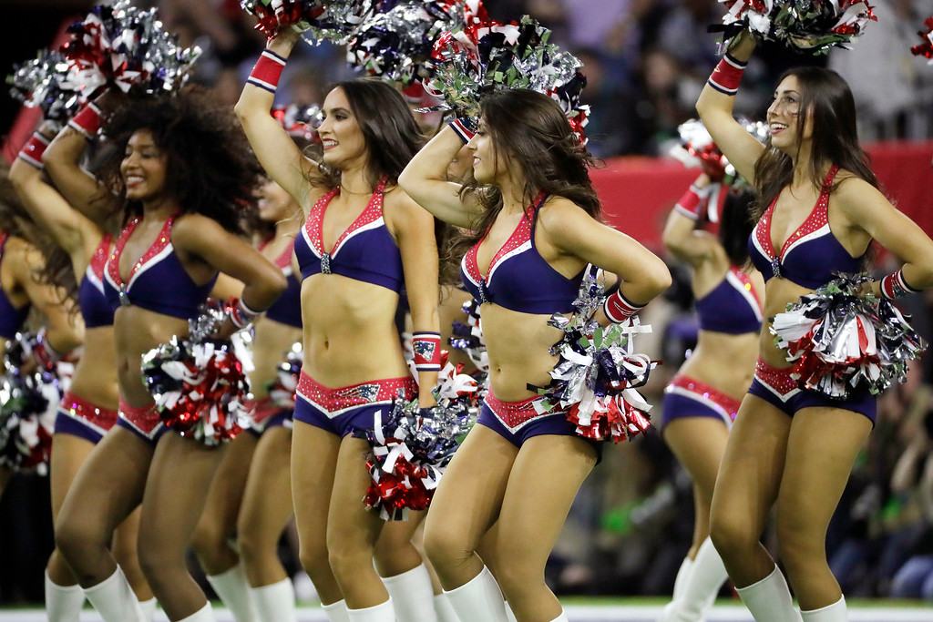 . New England Patriots cheerleaders perform during the first half of the NFL Super Bowl 51 football game against the New England Patriots, Sunday, Feb. 5, 2017, in Houston. (AP Photo/Mark Humphrey)