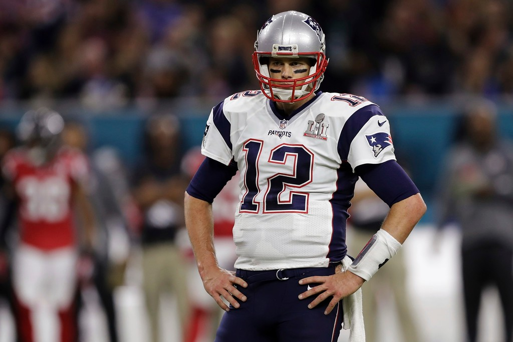 . New England Patriots\' Tom Brady stands on the field, during the first half of the NFL Super Bowl 51 football game against the Atlanta Falcons, Sunday, Feb. 5, 2017, in Houston. (AP Photo/Darron Cummings)