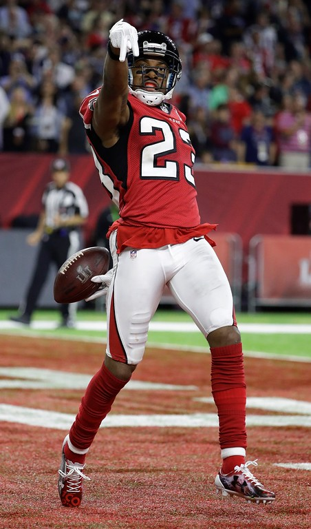 . Atlanta Falcons\' Robert Alford celebrates after scoring a touchdown during the first half of the NFL Super Bowl 51 football game against the New England Patriots, Sunday, Feb. 5, 2017, in Houston. (AP Photo/Tony Gutierrez)