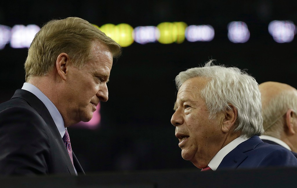 . NFL Commissioner Roger Goodell, left, congratulates New England Patriots owner Robert Kraft after the NFL Super Bowl 51 football game between the Atlanta Falcons and the New England Patriots Sunday, Feb. 5, 2017, in Houston. The New England Patriots won 34-28. (AP Photo/David J. Phillip)