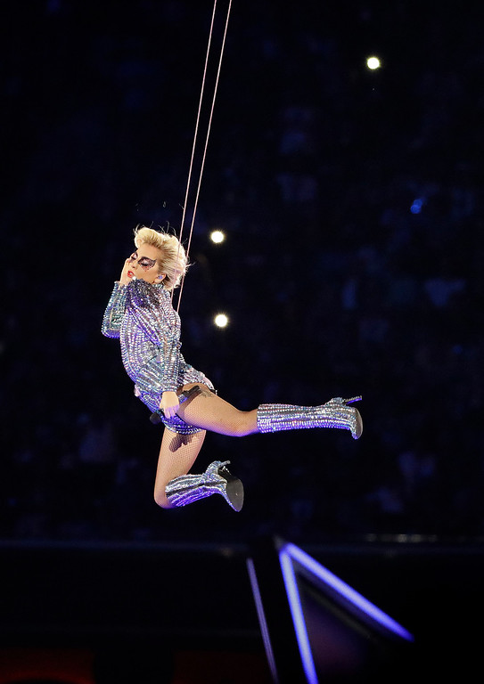 . Lady Gaga performs during the halftime show of the NFL Super Bowl 51 football game between the Atlanta Falcons and the New England Patriots Sunday, Feb. 5, 2017, in Houston. (AP Photo/Tony Gutierrez)