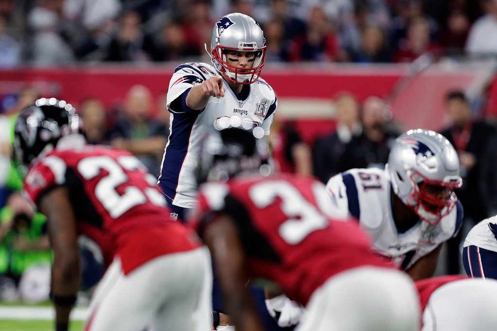 . New England Patriots\' Tom Brady calls an audible from the line of scrimmage in the first half of the NFL Super Bowl 51 football game against the Atlanta Falcons Sunday, Feb. 5, 2017, in Houston. (AP Photo/Darron Cummings)