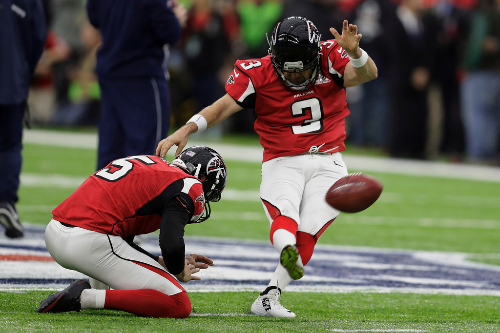 . Atlanta Falcons\' Matt Bryant and Matt Bosher practice a field goal kick, before the NFL Super Bowl 51 football game against the New England Patriots, Sunday, Feb. 5, 2017, in Houston. (AP Photo/Darron Cummings)