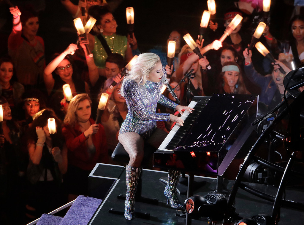 . Lady Gaga performs during the halftime show of the NFL Super Bowl 51 football game between the Atlanta Falcons and the New England Patriots Sunday, Feb. 5, 2017, in Houston. (AP Photo/Charlie Riedel)