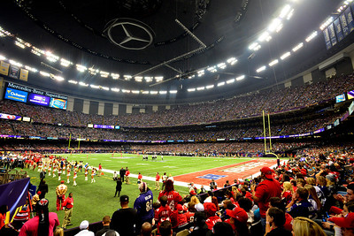 The Mercedes-Benz Superdome is seen during a timeout in the first half of NFL Super Bowl XLVII in New Orleans, LA, Sunday, Feb. 3, 2013.  By Paul Kieu, The Daily Advertiser Feb. 3, 2013