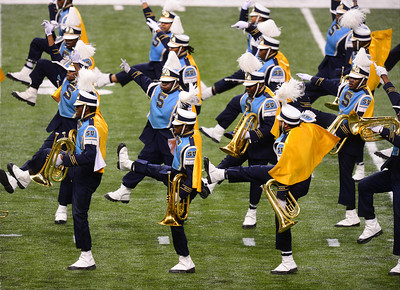 The Southern University marching band performs prior tothe first half of NFL Super Bowl XLVII at the Mercedes-Benz Superdome in New Orleans, LA, Sunday, Feb. 3, 2013.  By Paul Kieu, The Daily Advertiser Feb. 3, 2013