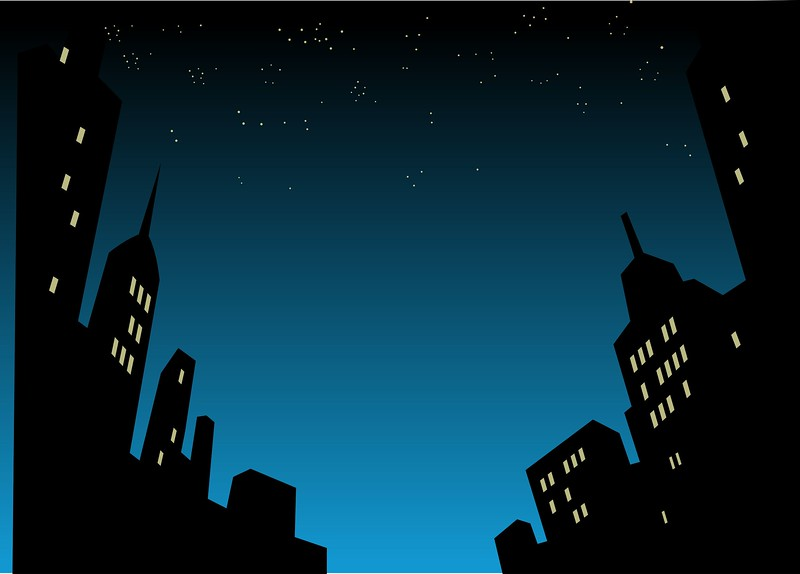 21536037 - graphic style cartoon night city skyline background