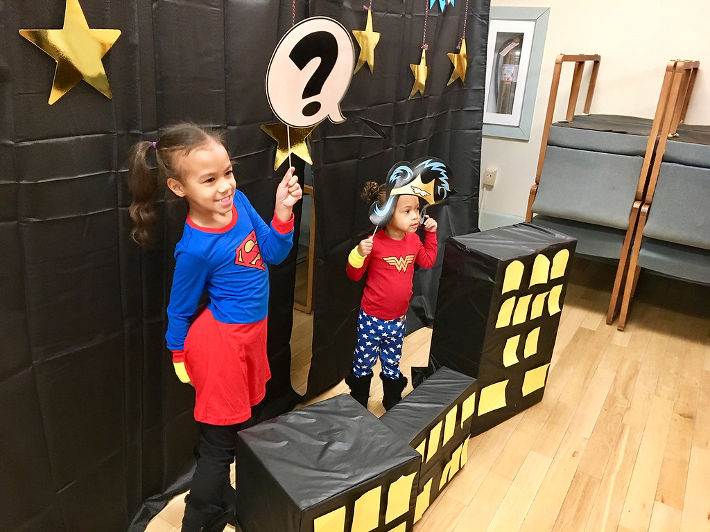 . Sisters Ava Bynum,5, and Brielle Bynum, 2,  of  Billerica, looked super as super heroes at the Family New Year sponsored by Billerica Recreation. The event was held Dec. 31 at Billerica Town Hall. Photo by Mary Leach