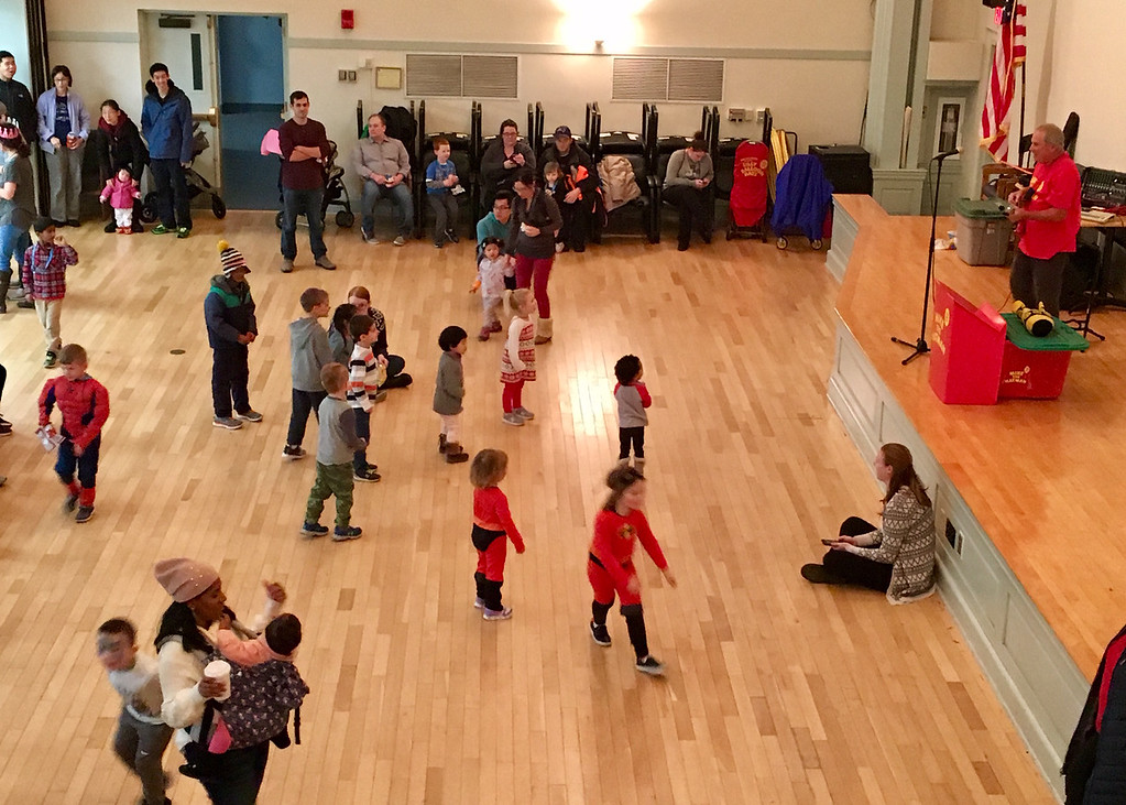 . Children danced and played at the New Year\'s eve celebration held at Billerica Town Hall. Photo by Mary Leach