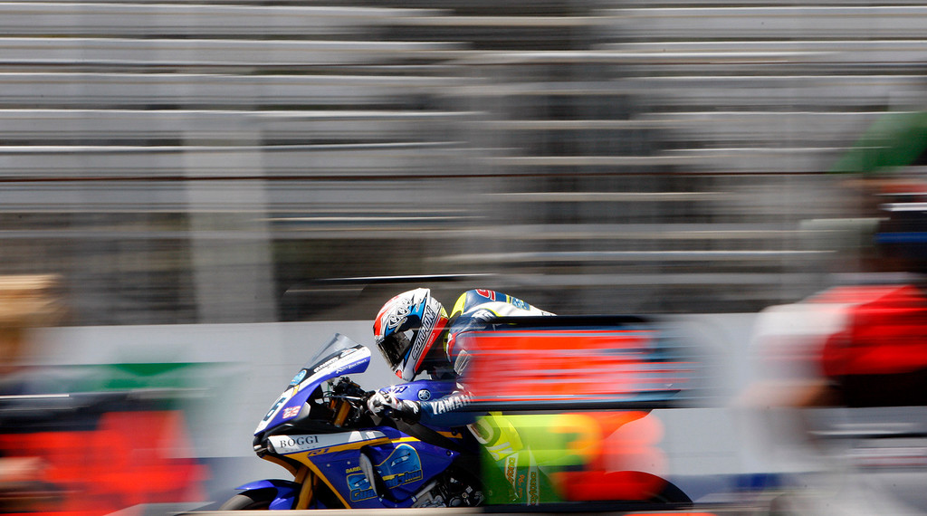 . Leandro Mercado (36) races down the straight at the FIM Superbike World Championship at Mazda Raceway Laguna Seca on Saturday, July 8, 2017.  (Vern Fisher - Monterey Herald)