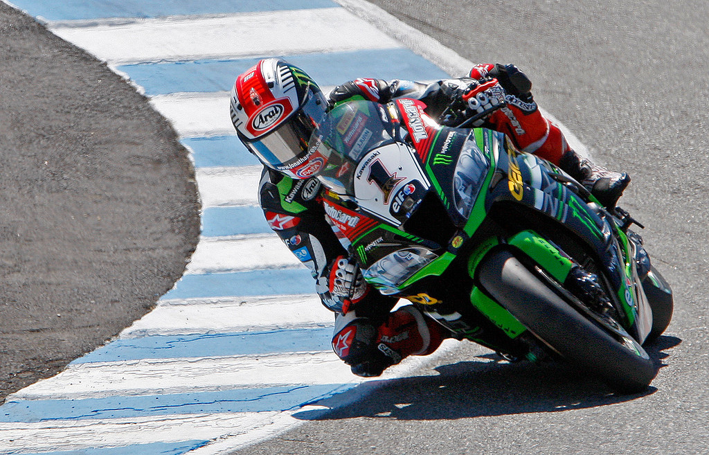 . Jonathan Rea (1) from Great Britain rides his Kawasaki ZX-10 RR to a second place finish at the FIM Superbike World Championship at Mazda Raceway Laguna Seca on Saturday, July 8, 2017.  (Vern Fisher - Monterey Herald)