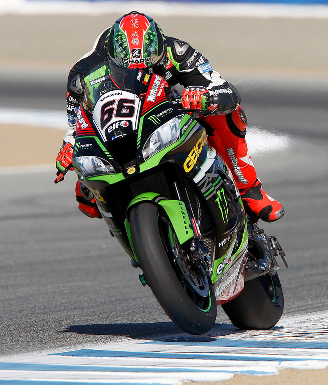 . Tom Sykes (66) from Great Britain rides his Kawasaki ZX RR to third place at the FIM Superbike World Championship at Mazda Raceway Laguna Seca on Saturday, July 8, 2017.  (Vern Fisher - Monterey Herald)