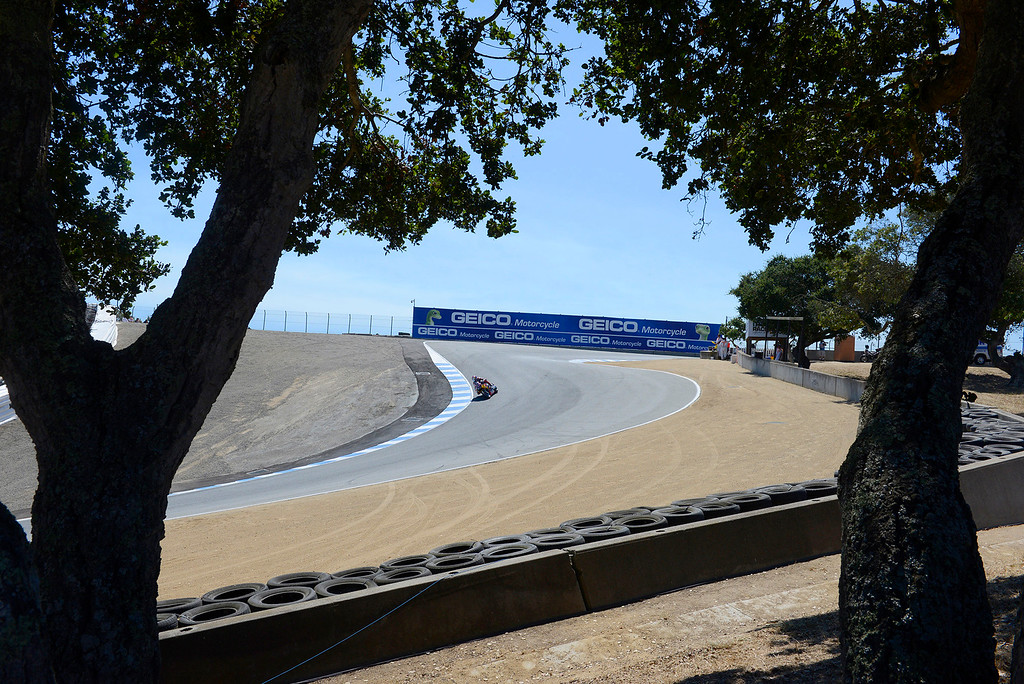 . Corkscrew action at the FIM Superbike World Championship at Mazda Raceway Laguna Seca on Saturday, July 8, 2017.  (Vern Fisher - Monterey Herald)