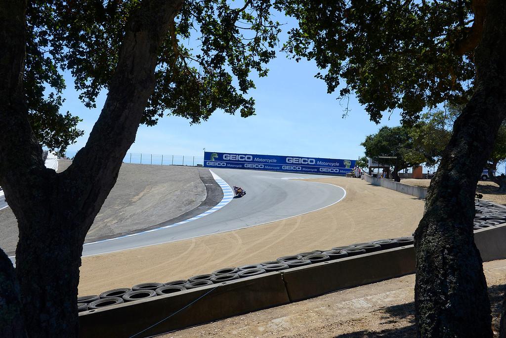 . Corkscrew action at the FIM Superbike World Championship at Mazda Raceway Laguna Seca on Saturday, July 8, 2017.  (Vern Fisher - Monterey Herald)
