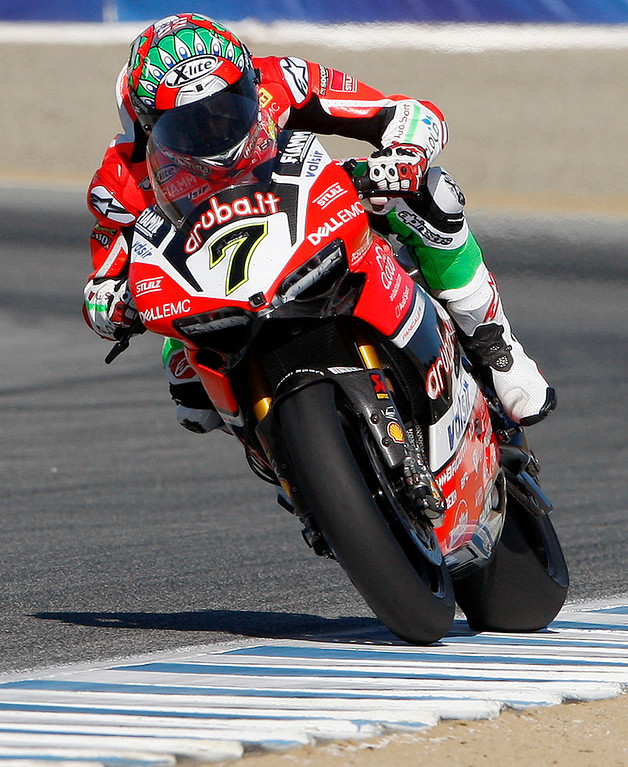 . Chaz Davies (7) from Great Britain rides his Ducati Panigale R to victory at the FIM Superbike World Championship at Mazda Raceway Laguna Seca on Saturday, July 8, 2017.  (Vern Fisher - Monterey Herald)