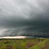An HP supercell moves over the small town of Gould, OK, on April 13, 2012, preceded by an ominous shelf cloud.