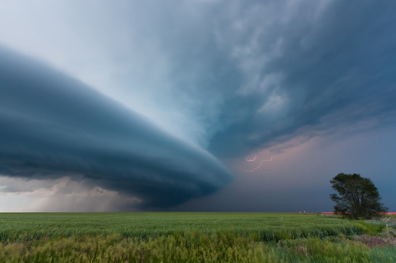 A classic supercell makes its presence known over the desolate High Plains south of Akron, CO, on June 10, 2010.