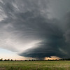 A classic, striated supercell approaches Howard, KS, just before sunest on May 10, 2014.