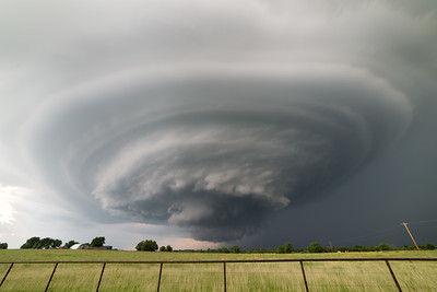 An incredible striated supercell drifts over the Kansas prairie near Douglass on the evening of June 26, 2018.