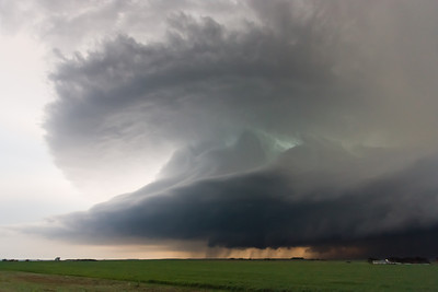 A classic supercell puts on an amazing show of storm structure near Retrop, OK, on March 18, 2012.