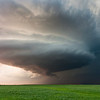 A gorgeous supercell develops a wall cloud at sunset on March 30, 2008, near Hobart, OK.