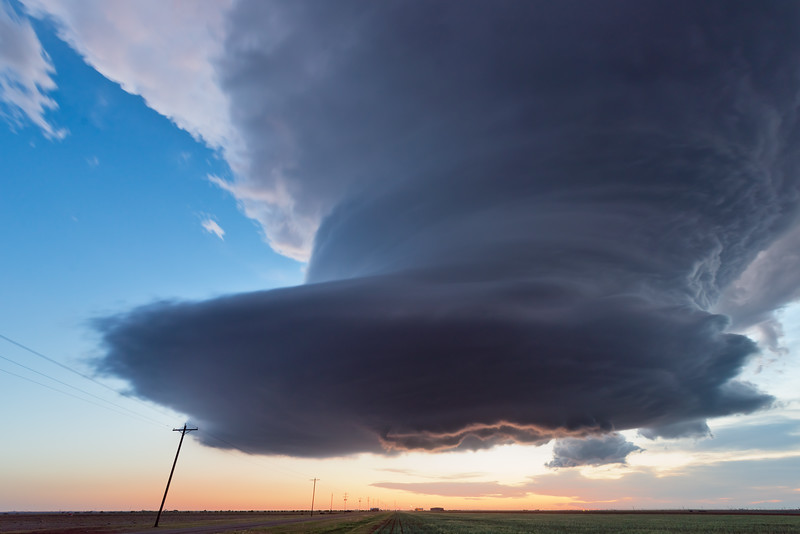 A remarkably low-precipitation (LP) supercell puts on a show of structure near Hale Center, TX, just after sunset on May 16, 2021.