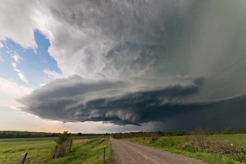 "A classic supercell with ""stacked plates"" drifts over the Flint Hills of Kansas near Piedmont on May 10, 2014."