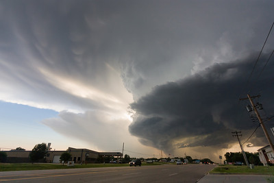 A tornadic supercell bears down on Bethany, OK, toward the tail end of rush hour on May 29, 2012. This storm produced hail larger than softballs!