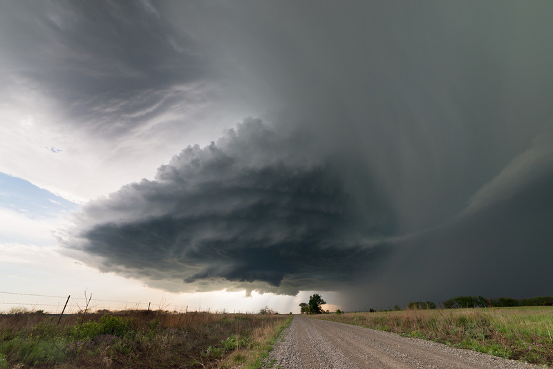 """A classic supercell with """"stacked plates"""" drifts over the Flint Hills of Kansas near Piedmont on May 10, 2014."""