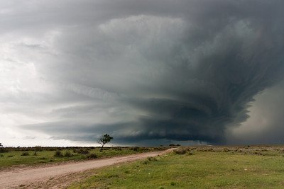 A tornadic supercell terrorizes the Texas Panhandle between Dumas and Stinnett on May 18, 2010.