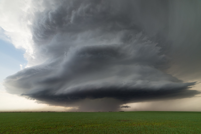 A ferocious early spring supercell thunderstorm sweeps across the Great Plains of southwest Oklahoma near Gould on April 3, 2019.