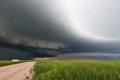 An HP supercell glides eastward at sunset northeast of Sidney, NE, on June 5, 2009.