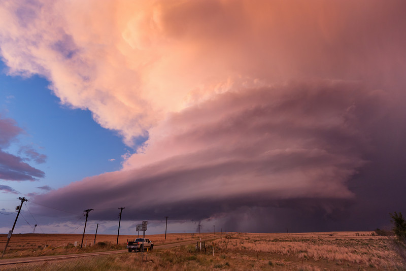 "This is what storm chasers refer to as ""Panhandle Magic!"" The setting sun on October 11, 2011, enhances an already jaw-dropping supercell scene near Alanreed, TX."