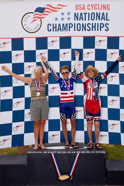 Womens 65-69 2k TT Podium - L to R - Bonnie Woodbury, Marsha Macro and Julie Lockhart